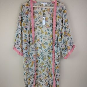NWT BCBGeneration Pink Floral Long Kimono